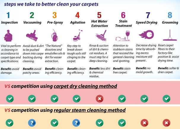 carpet cleaning steps & methods compare